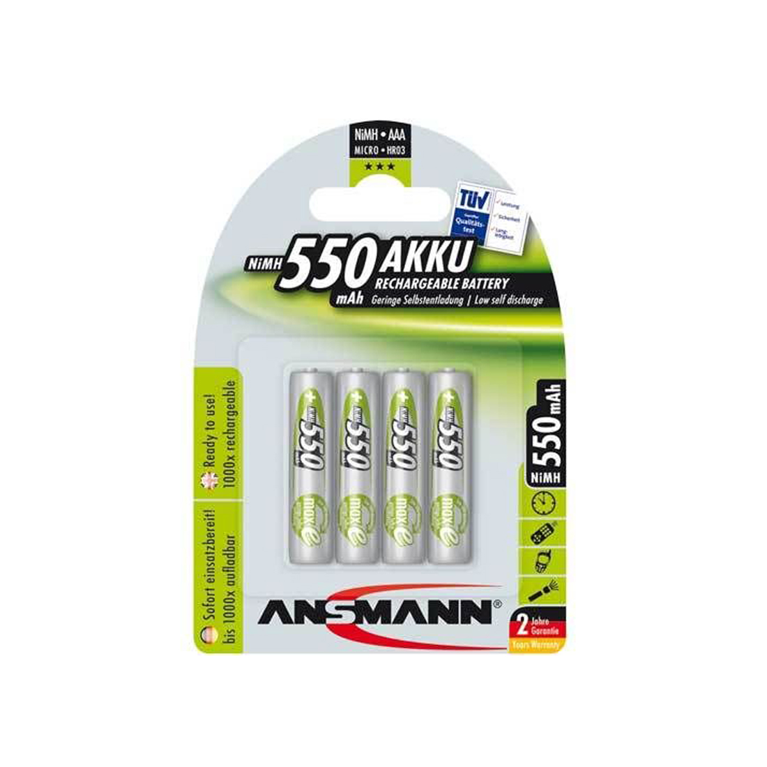 4 x ansmann rc03 aaa micro nimh akku 550 mah f r binatone at2000. Black Bedroom Furniture Sets. Home Design Ideas